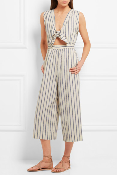 Madewell Tie-Front Cutout Linen & Cotton-blend Jumpsuit £115