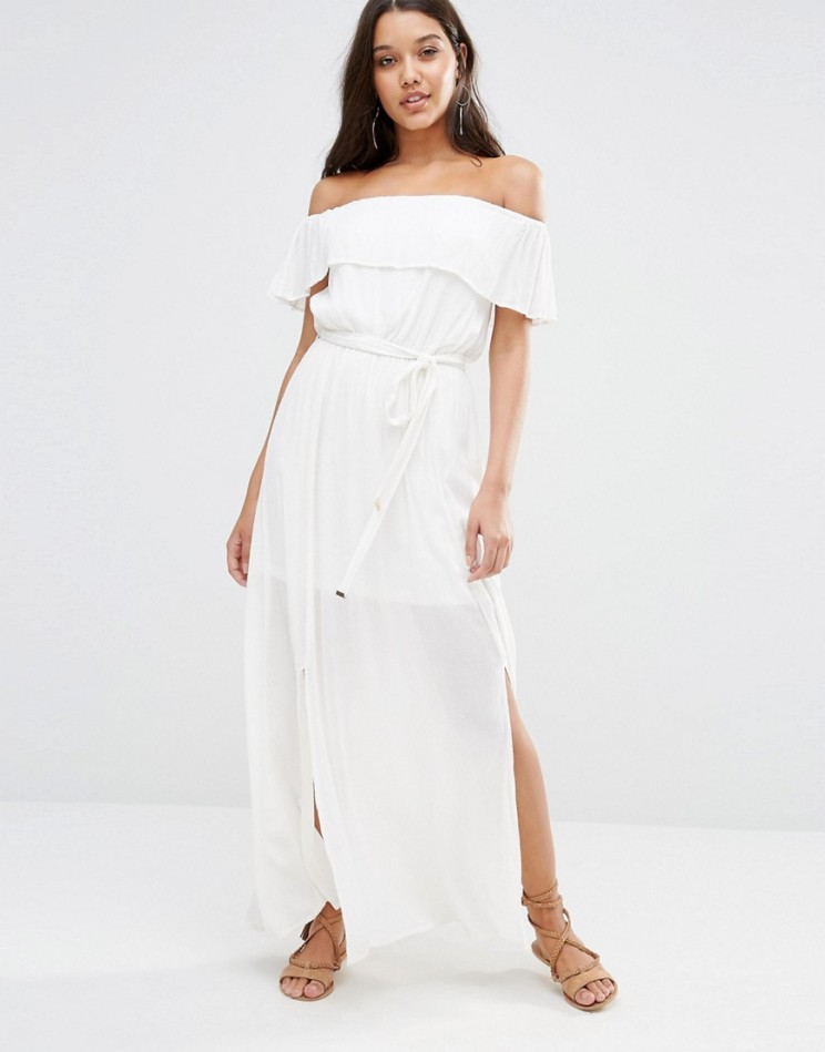 River Island Cheesecloth Off The Shoulder Maxi Dress £30