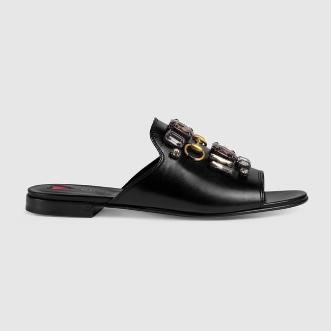 Leather Slide with Crystals Gucci