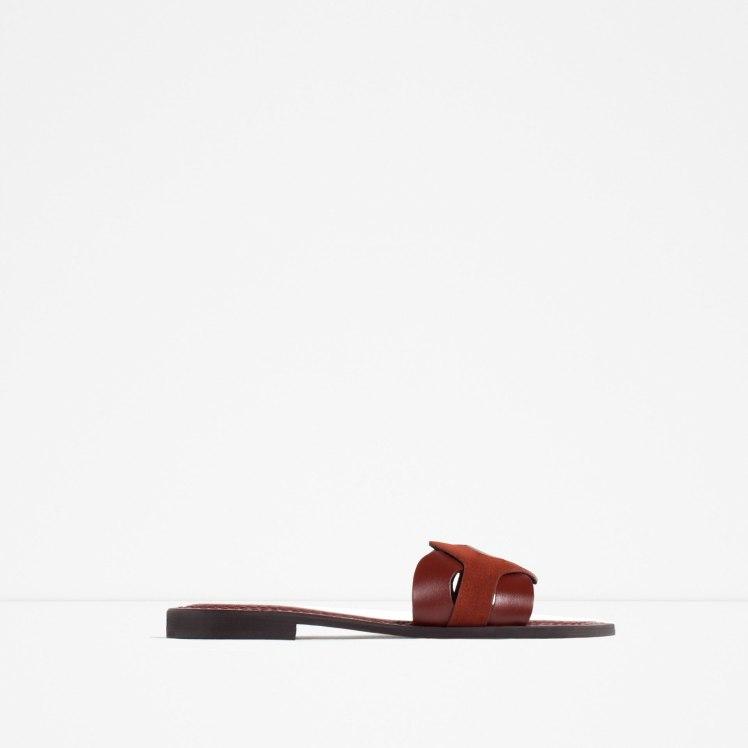 zara contrast leather slide