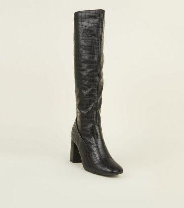 black-faux-croc-block-heel-knee-high-boots