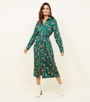 turquoise-floral-twill-midi-shirt-dress